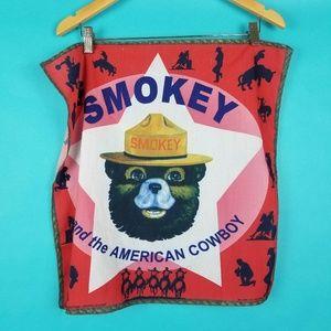 Vintage Bandanna Smokey The Bear American Cowboy